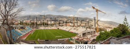 FUNCHAL, MADEIRA, PORTUGAL - NOVEMBER 2 2011: Construction of Estadio dos Barreiros or Estadio do Maritimo a multi-purpose stadium.  It is the home stadium of Club Sport Maritimo. - stock photo