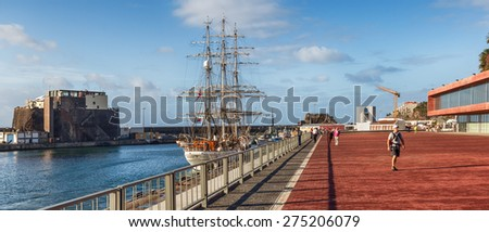 FUNCHAL, MADEIRA, PORTUGAL - NOVEMBER 3 2011: Old fashioned yacht stands in Funchal marina - stock photo