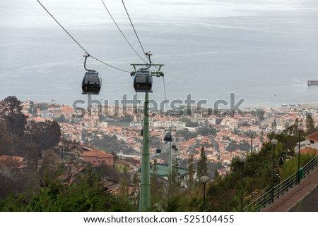FUNCHAL, MADEIRA, PORTUGAL - SEPTEMBER 2, 2016: Cable car to Monte at Funchal, Madeira Island Portugal