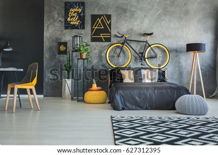 Functional Bedroom Interior With Working Area And Bicycle Part 74
