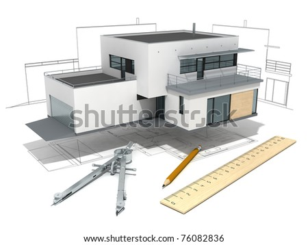 functionalist house model  with project, ruler, dividers  and pencil, isolated on  white background - stock photo