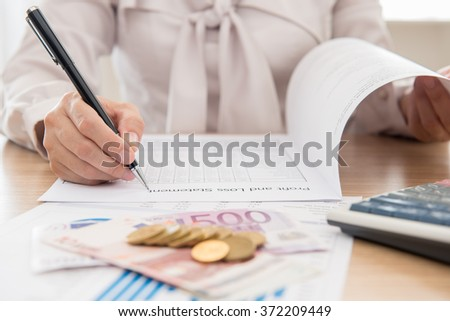 Fund managers calculate return on investment. concept of  investor,investment growth,investment plan, investment  management, investment portfolio. - stock photo
