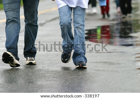 Fund raising walkathon. - stock photo