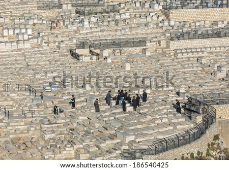 Funeral ceremony when the ancient Jewish Cemetery - Jerusalem, Israel. - stock photo