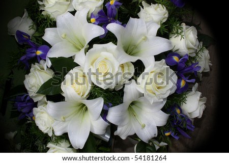 Funeral flowers for condolences - stock photo