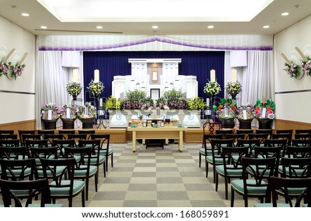 Funeral scene of japanese style - stock photo