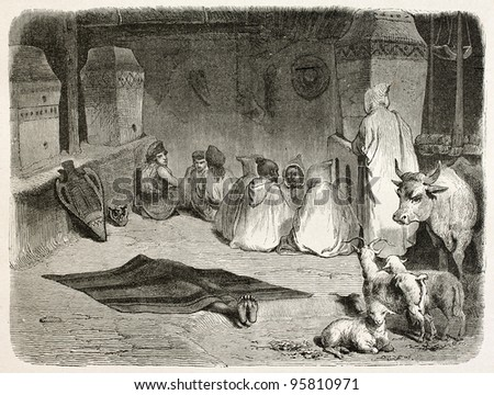 Funeral visit in dead's house, Kabylia, Algeria. Created by Stop after Duhousset, published on Le Tour Du Monde, Paris, 1867 - stock photo