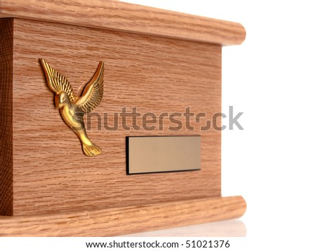 Funeral wood urn isolated on pure white background - stock photo