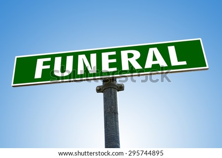 FUNERAL word on green road sign - stock photo
