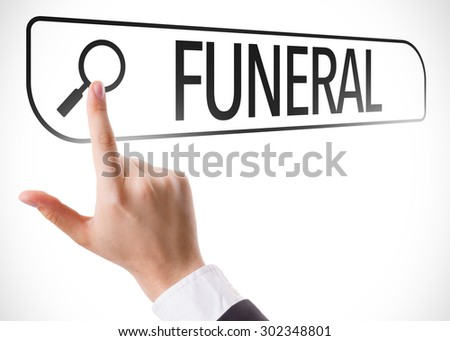Funeral written in search bar on virtual screen - stock photo