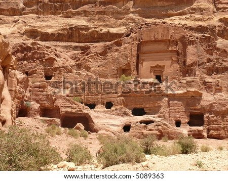 Funerary chambers, burial places, carved into sandstone cliff, Royal Tombs, Urn Tomb, Rose City, Petra, Jordan. More Petra pics in my port.