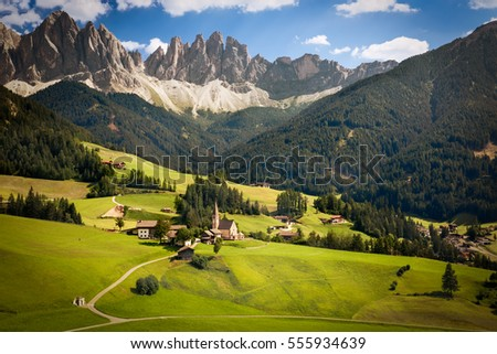 Funes Valley with Geislerspitzen (Gruppo delle Odle), South Tyrol, Italy