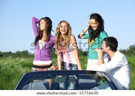 funey friends in dance car - stock photo