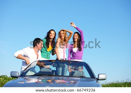 funey friends in dance car - stock photo
