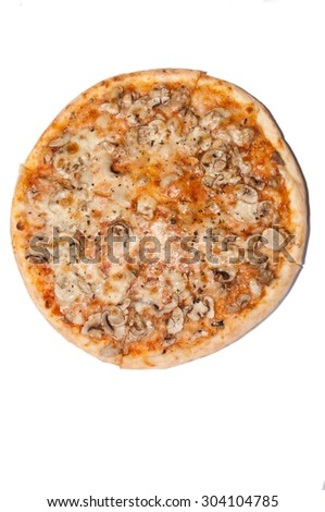 Fungi pizza from above on the white background. - stock photo