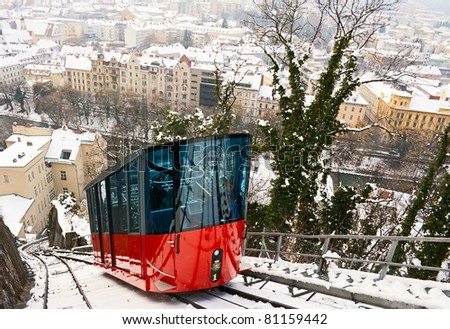 Funicular is climbing to Schlossberg in Graz, Austria. - stock photo