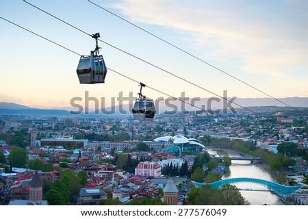 Funicular over the Tbilisi city at sunset. Georgia - stock photo