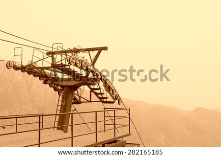 Funicular transmission device in the stone forest gorge scenic area, beijing, china