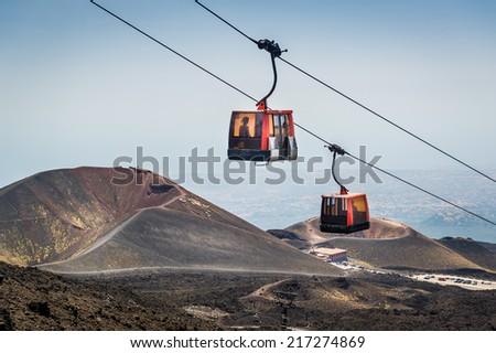Funivia del Etna cable railway to Etna volcano. Sicily, Italy - stock photo