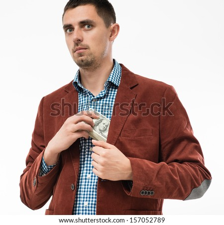 Funkiness man hides money in your pocket - stock photo