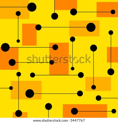 Funky abstract design on yellow background