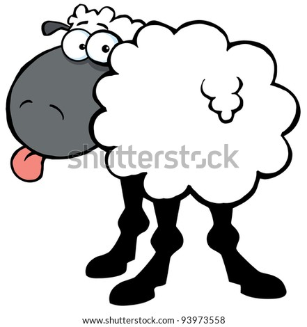Funky Black Sheep Sticking Out His Tongue .Vector version is also available