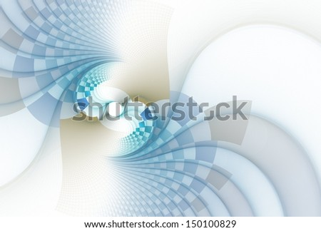 Funky blue and gold abstract checkered rotating disc on white background - stock photo