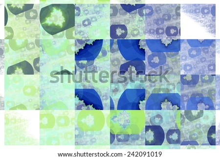 Funky blue, green and teal abstract tiled Mandelbrot design on white background  - stock photo