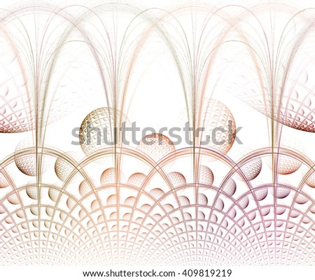 Funky blue, green and teal abstract woven / arch / sphere design on white background  - stock photo