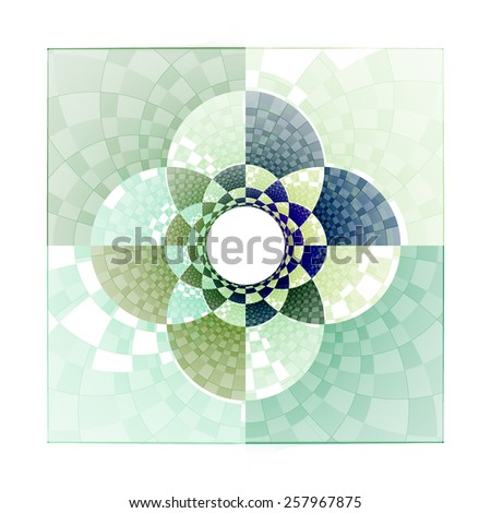 Funky blue / green / teal abstract checkered flower 'tile' on white background  - stock photo