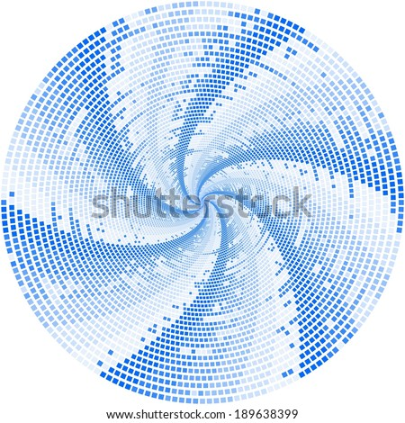 Funky blue mosaic spiral fan design on white background - stock photo