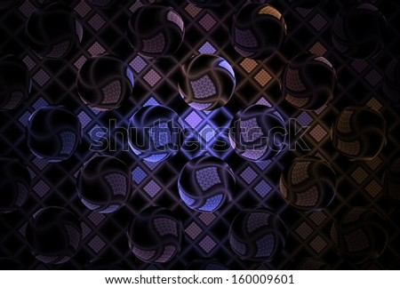 Funky blue / purple / copper abstract sphere / grid design on black background - stock photo