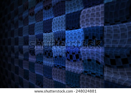 Funky blue / teal abstract wavy checkered design on black background (3D perspective) - stock photo