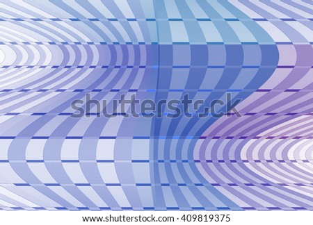 Funky blue, teal and purple abstract checkered wave design on white background