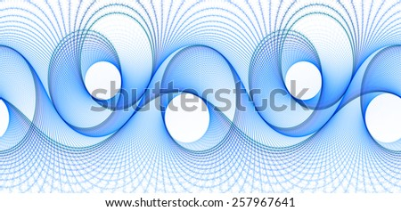 Funky bright blue woven abstract wave design on white  background (tile able)  - stock photo