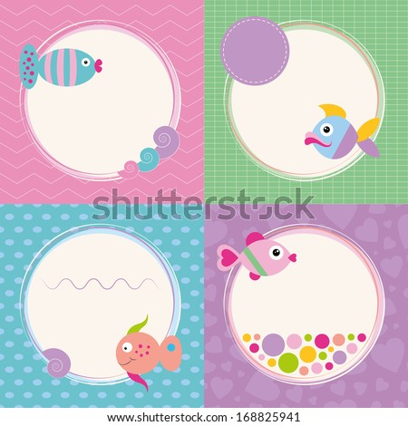 funky cartoon fish greeting cards collection illustration