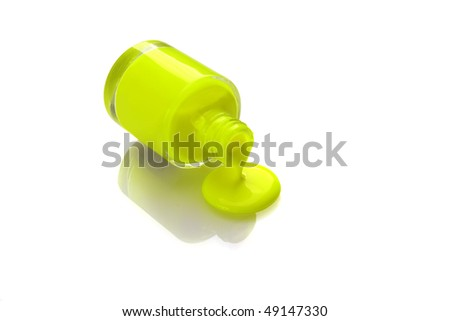 funky colorful nail polish with reflaction - stock photo