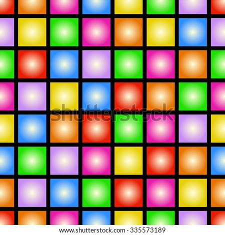 Funky colorful tileable 80s style vector wallpaper that repeats left, right, up and down - stock photo