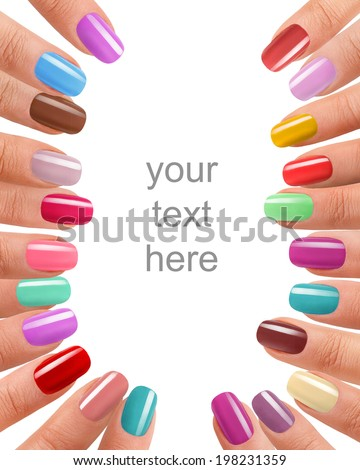 Funky fingers nail polish / photography of beautiful female fingers with manicure - isolated on white background with space for your text  - stock photo