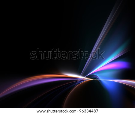 Funky glowing fractal abstract illustration over a black background with negative space.