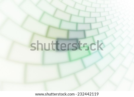 Funky glowing green / lime and white curved tile / brick design on white background  - stock photo