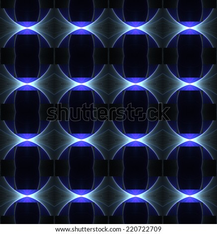 Funky glowing purple / blue abstract diamond design on black background (tile able) - stock photo