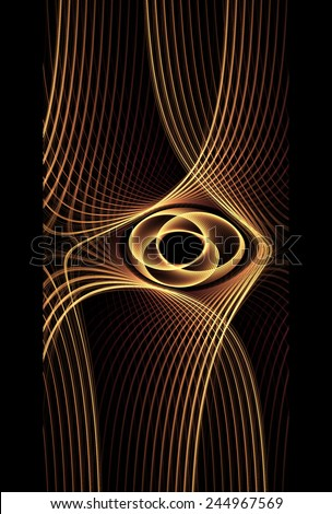 Funky gold / copper abstract flower / disc / hole design on black background - stock photo
