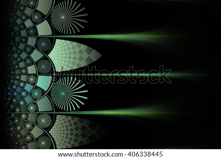 Funky green / teal abstract checkered / flower design on black background  - stock photo