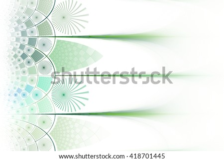 Funky green / teal abstract checkered / flower design on white background - stock photo