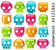 Funky gummy colorful skulls. - stock vector