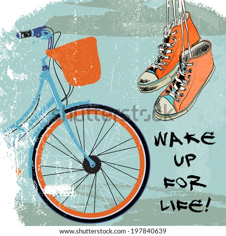 Funky hanging gumshoes sketch hipster background with retro bike  illustration - stock photo