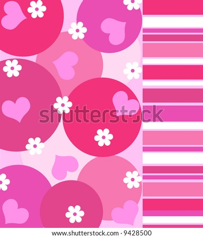 Funky hearts and flowers with stripes in shades of bright pink - stock photo