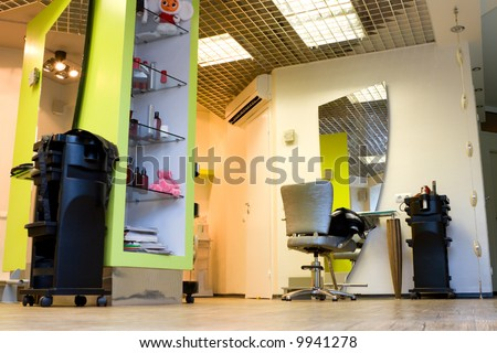 Funky modern interior of hair salon. - stock photo