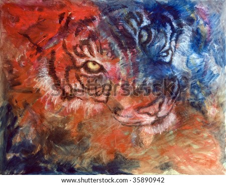 Funky & Modern Multicolored Oil painting on Canvas, Tiger in blue and red colors. I, the Artist, owns the copyright. - stock photo